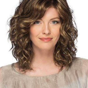 Short Curly Synthetic Lace Front Wig Mono Top For Women