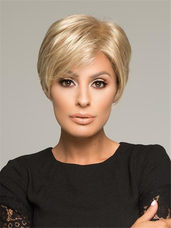 Short Straight Synthetic Lace Front Wig Hand-Tied