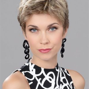 Short Human Synthetic Hair Blend Lace Front Wig Mono Top For Women