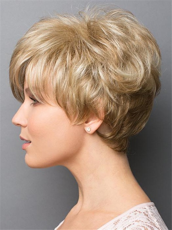 Short Gia Synthetic Wig Basic Cap Layered For Women