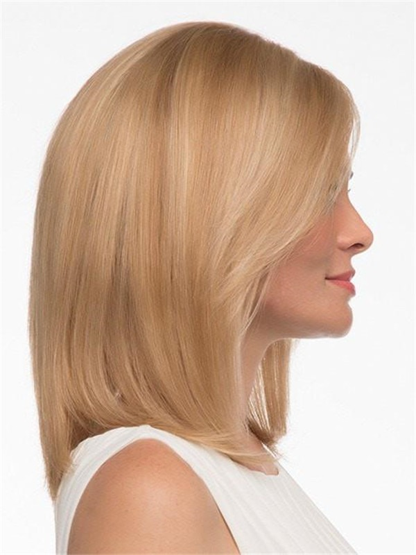 Mid-length Human Hair Lace Front Wig Hand-tied For Women