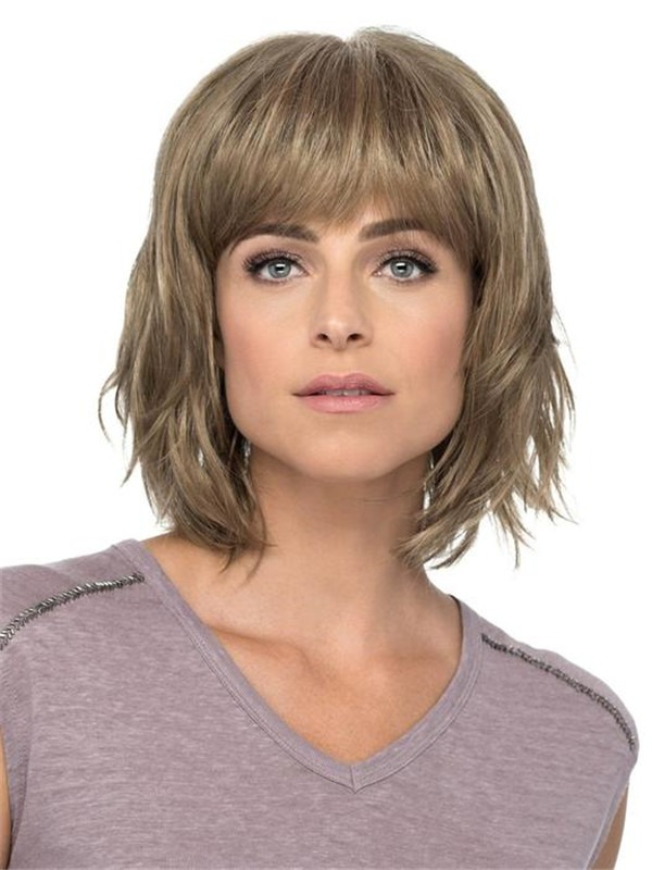 Mid-length Synthetic Wig Mono Crown For Women