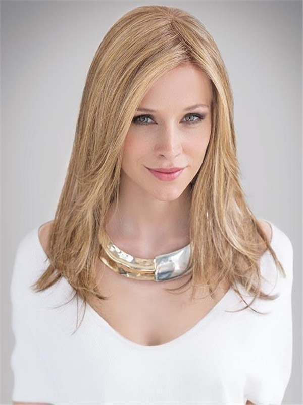 Mid-length Human Synthetic Hair Blend Lace Front Wig Hand-tied For Women