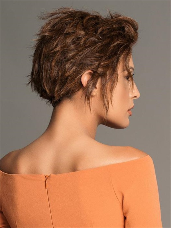 Short Human Hair Synthetic Blend Lace Front Wig Hand-tied For Women