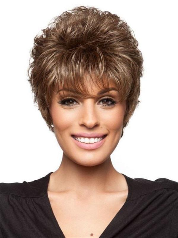 Short Wavy Synthetic Wig Basic Cap For Women