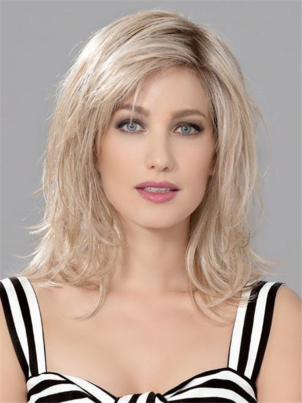 Straight Human synthetic Hair Blend Lace Front Wig Mono Part For Women