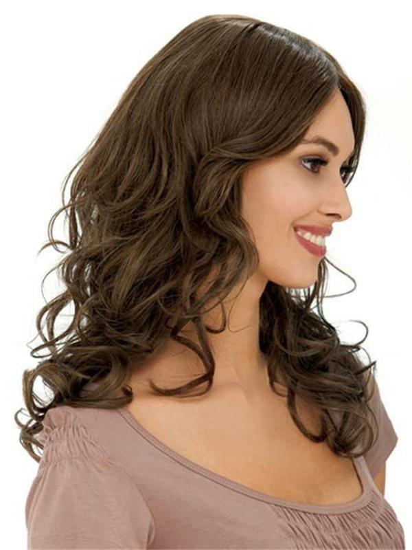 Long Curly Human Hair Wig Mono Top For Women