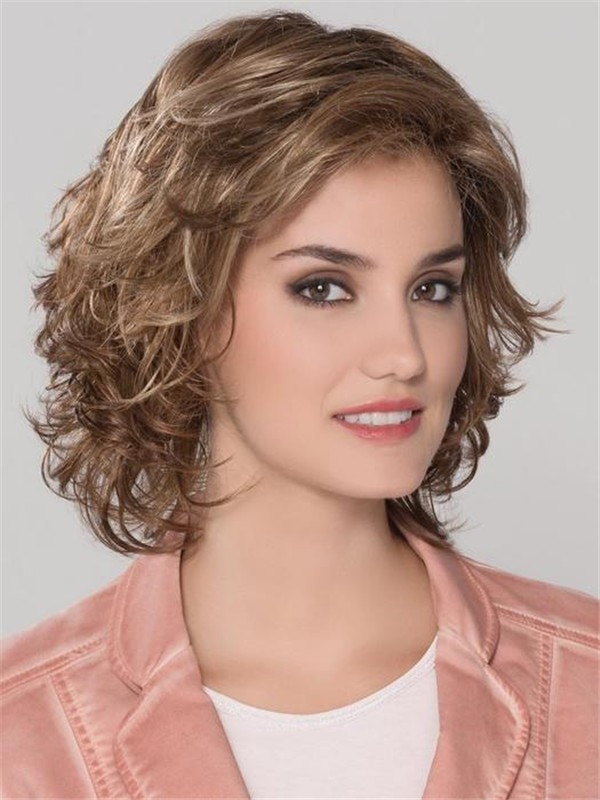 Short Curly Synthetic Lace Front Wig Mono Crown For Women