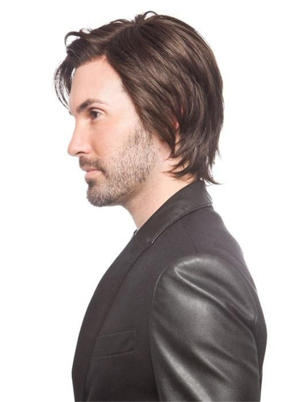 Short Synthetic Lace Front Wig Mono Part For Men