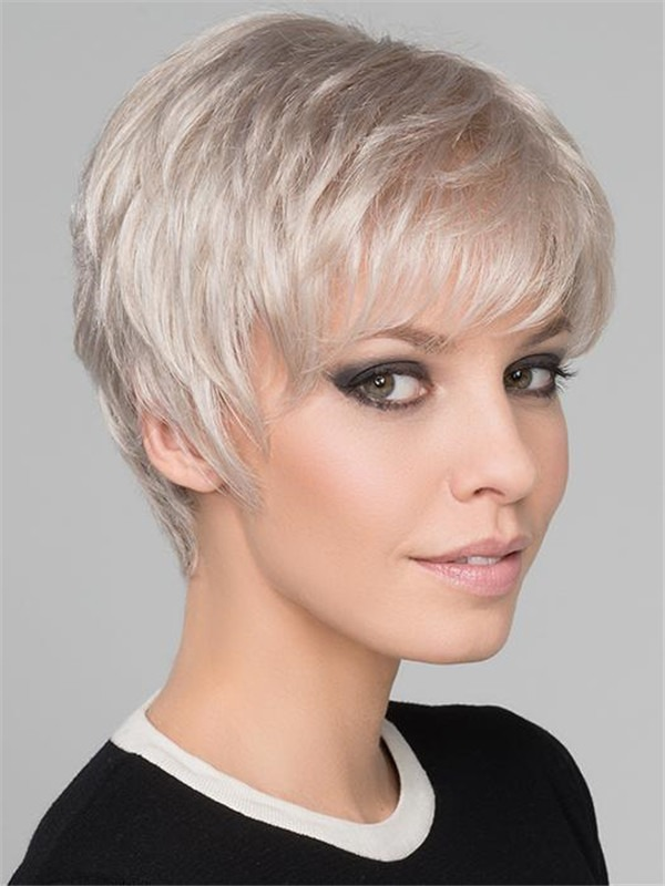 Short Light Synthetic Wig Mono Top For Women
