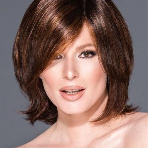 Short Straight Synthetic Lace Front Wig Mono Part For Women