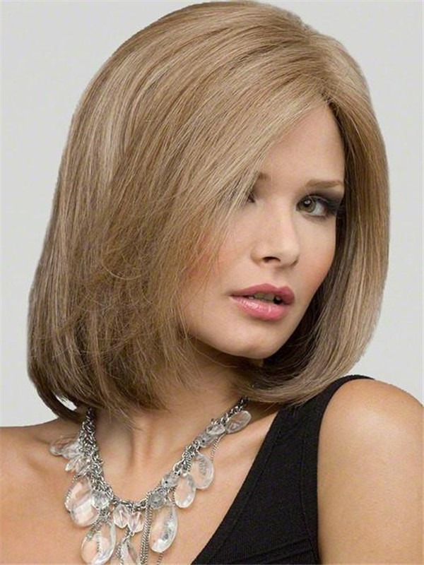 Human Hair Synthetic Blend Lace Front Wig Mono Top For Women