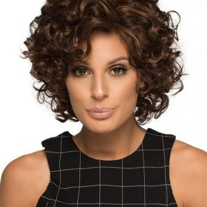 Short Human Hair Synthetic Blend Wig Mono Top For Women