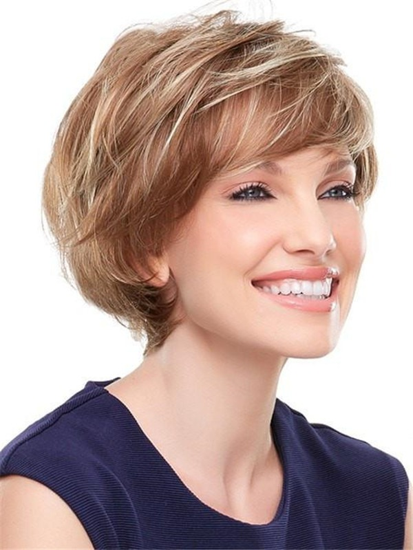 Short Straight Synthetic Lace Front Wig Mono Top For Women
