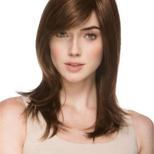 Long Mid-length Synthetic Wig Mono Top For Women