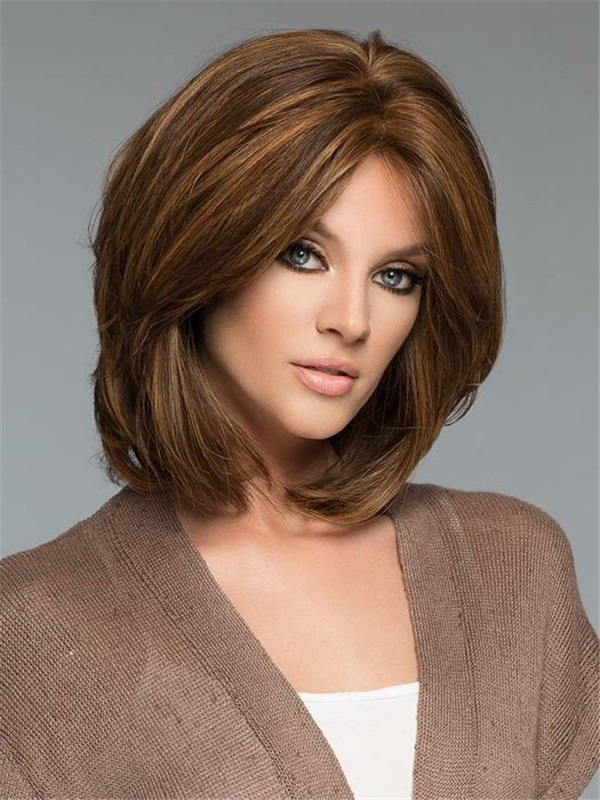 Straight Mid-length Human Hair Wig Hand-tied For Women