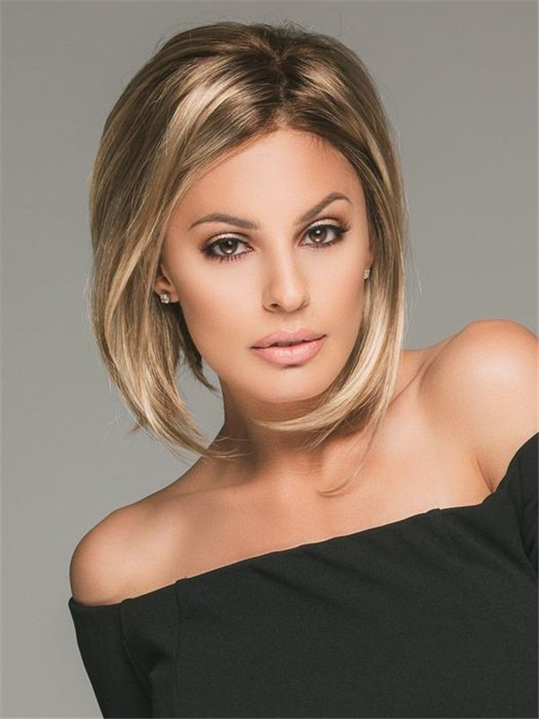 Short Synthetic Lace Front Wig Mono Top For Women