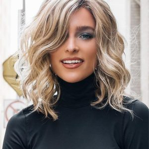 Monofilament Wavy Synthetic Lace Front Wig Mono Top For Women