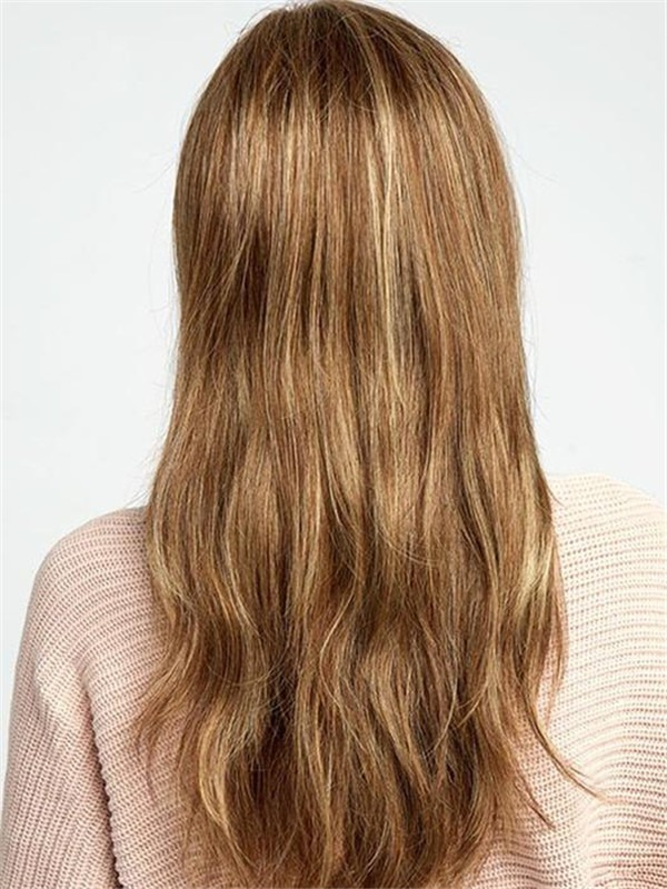 Long Layered Wavy Synthetic Lace Front Wig Mono Part