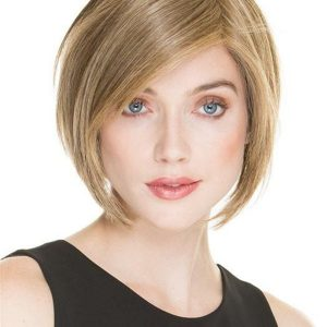 Short Straight Human Hair Synthetic Blend Lace Front Wig For Women