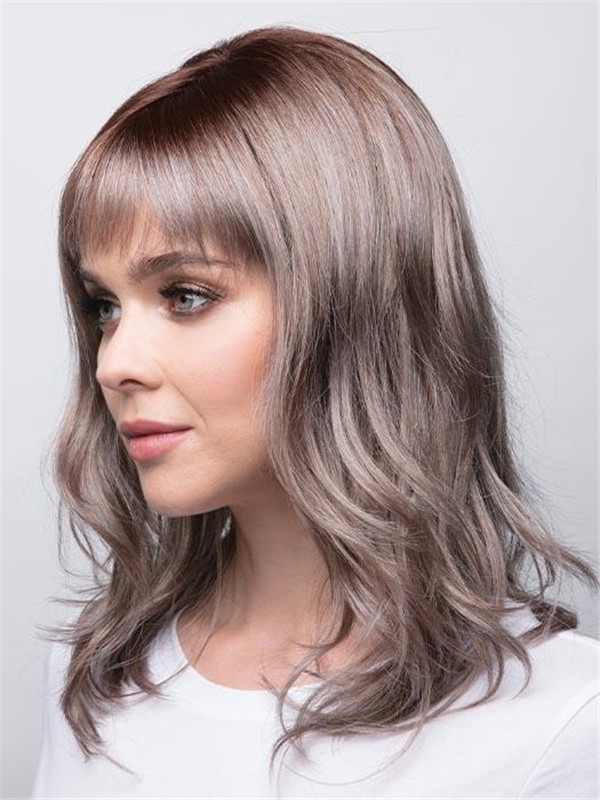 Colored Mid-length Synthetic Wig Basic Cap For Women