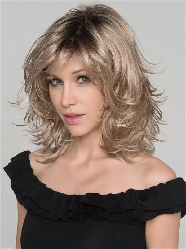 Curly Short Synthetic Wig Mono Part For Women