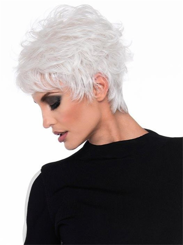 Short Rooted Human Hair Synthetic Blend Wig For Women