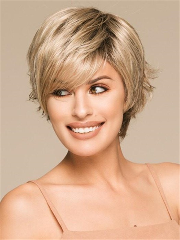 Brunette Synthetic Wig Mono Crown For Women