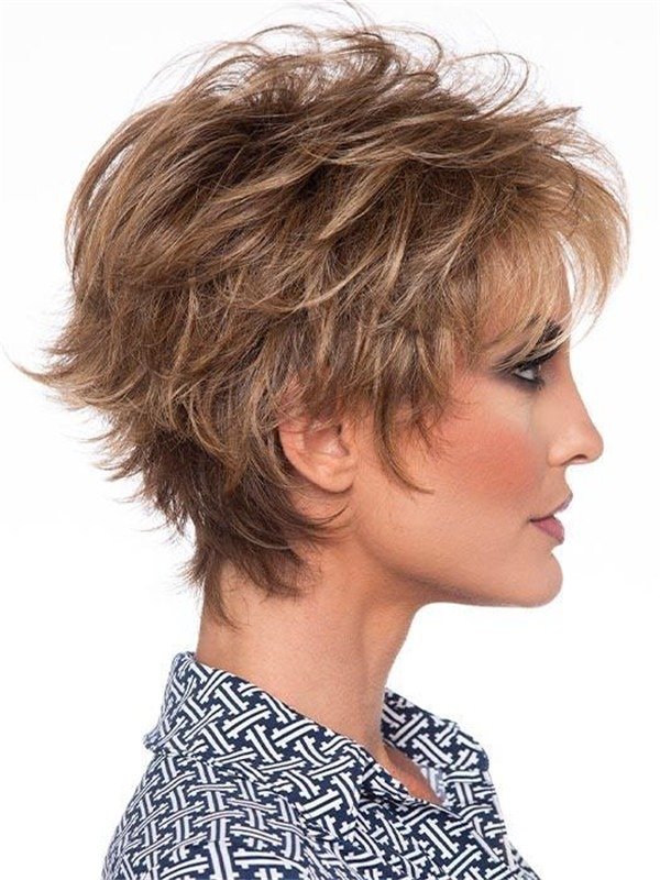 Short Human Hair Synthetic Blend Wig Rooted For Women