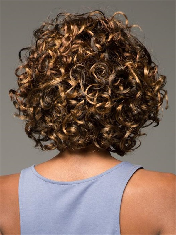 Mid-length Curly Synthetic Wig Basic Cap For Women