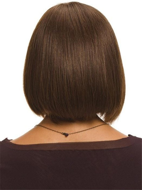 Straight Mid-length Human Hair Wig Mono Top For Women