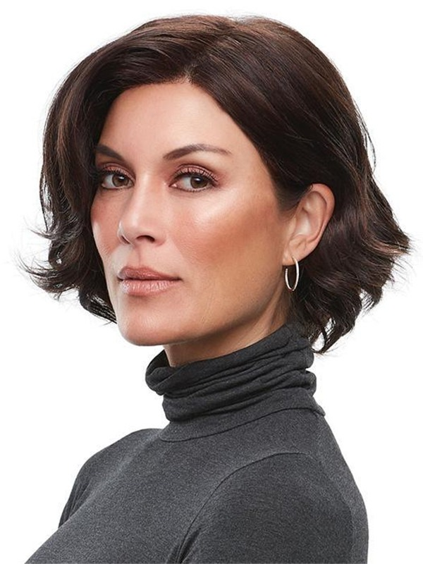 Short Wavy Synthetic Lace Front Wig Mono Part For Women