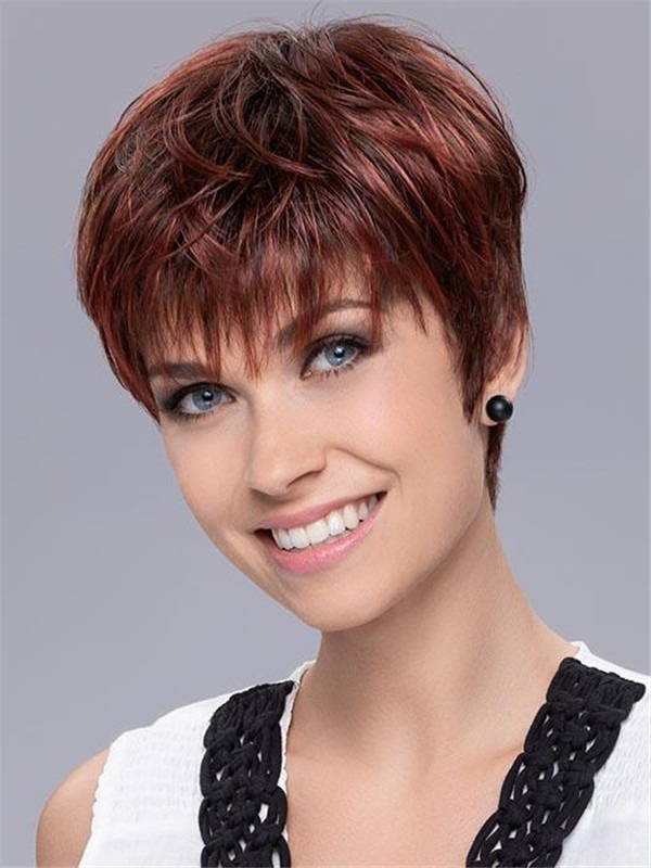 Short Pixie Synthetic Wig Mono Crown For Women