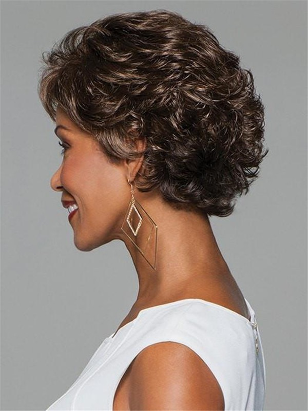 Short Curly Synthetic Wig Mono Top For Women