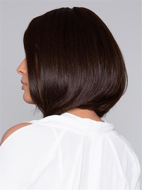 Short Straight Human Hair Lace Front Wig Mono Top For Women