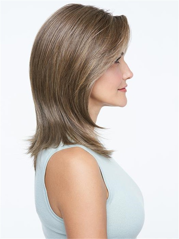 Straight Mid-length Synthetic Lace Front Wig Mono Top For Women