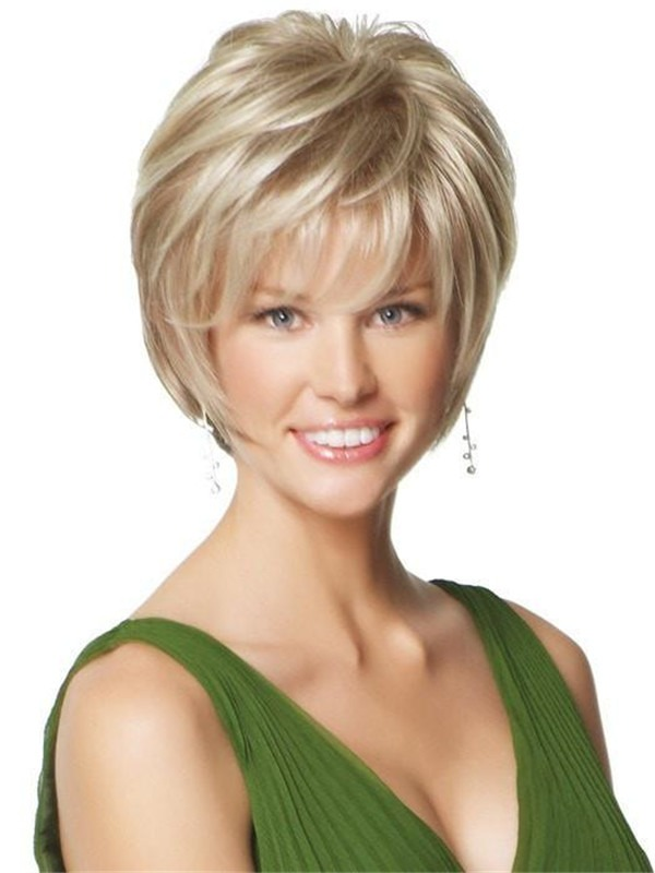Short Layered Straight Synthetic Lace Front Wig Mono Top For Women
