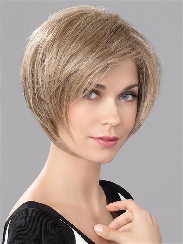Straight Human Synthetic Hair Blend Lace Front Wig Hand-Tied