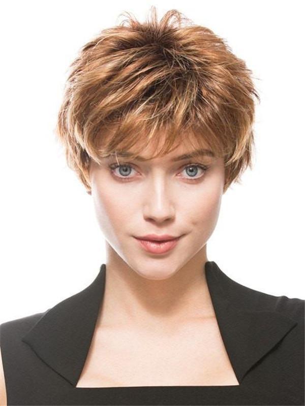 Short Pixie Short Synthetic Wig Basic Cap For Women