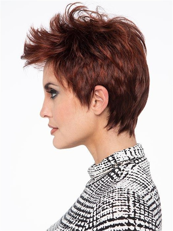 Short Brunette Straight Synthetic Lace Front Wig Basic Cap For Women