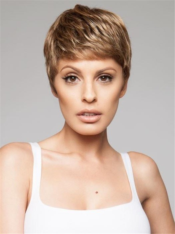 Short Pixie Synthetic Lace Front Wig Mono Crown For Women