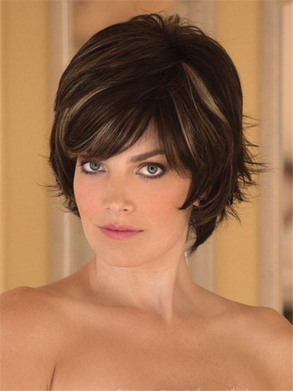 Short Straight Synthetic Wig Mono Top For Women