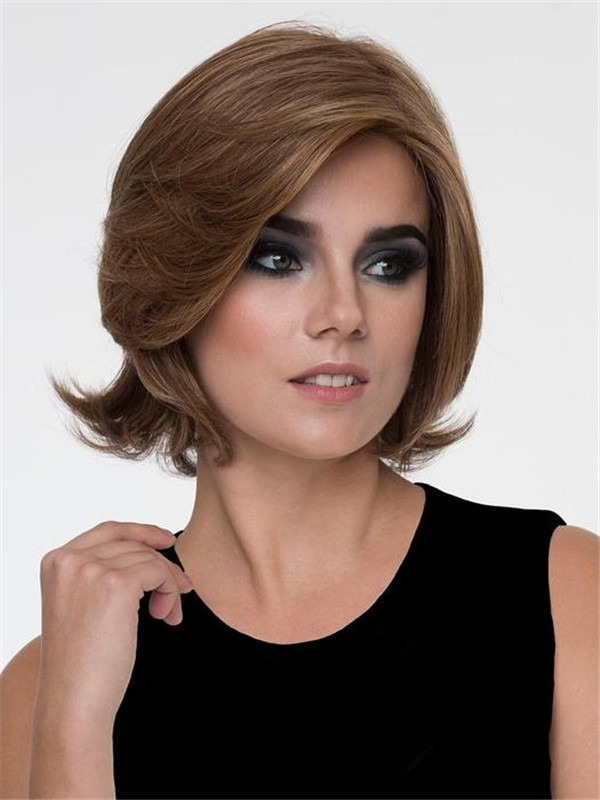 Short Mid-Length Human Hair Synthetic Blend Wig Mono Top