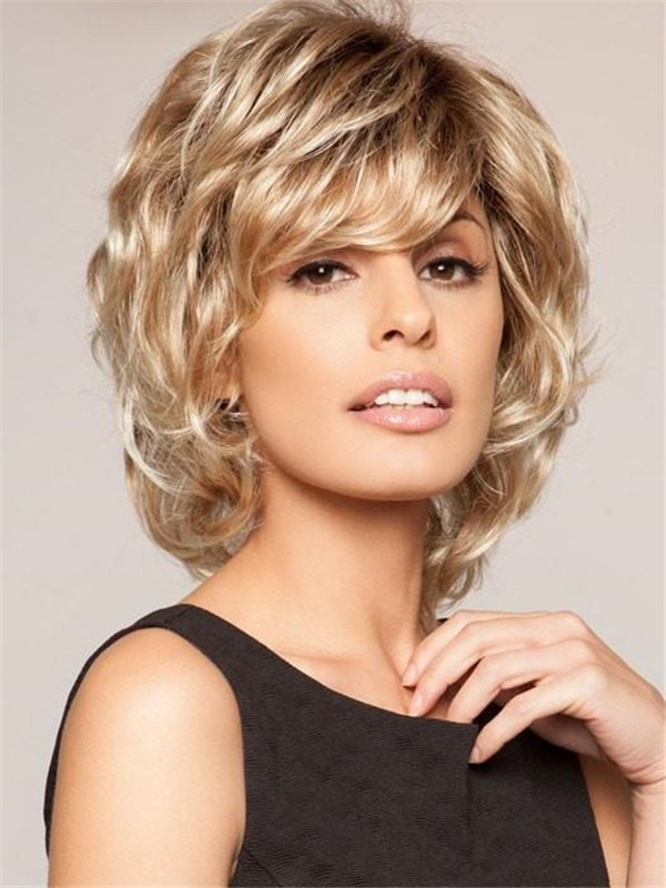 Short Mid-length Synthetic Wig Basic Cap For Women