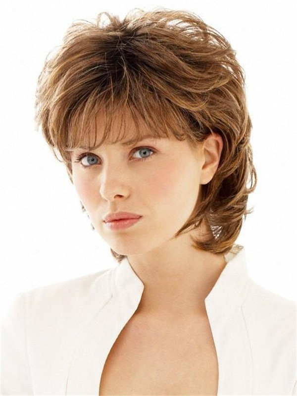 Mid-length Synthetic Wig Basic Cap For Women