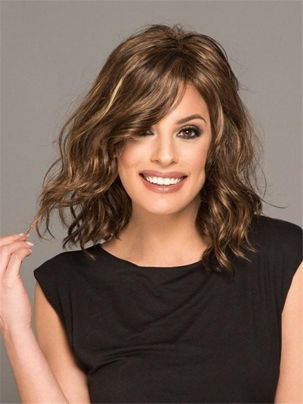 Wavy Mid-length Synthetic Lace Front Wig Basic Cap For Women