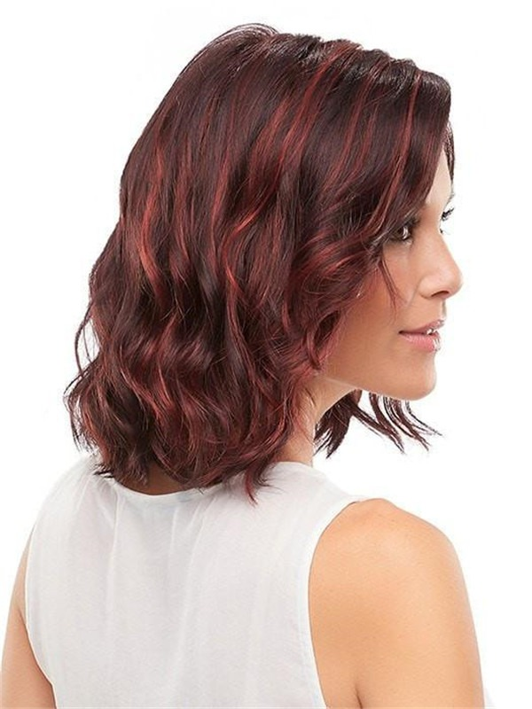 Mid-length Synthetic Lace Front Wig Basic Cap For Women