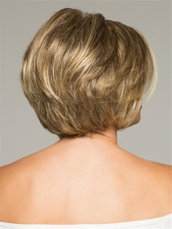 Short Synthetic Lace Front Wig Basic Cap Rooted For Women