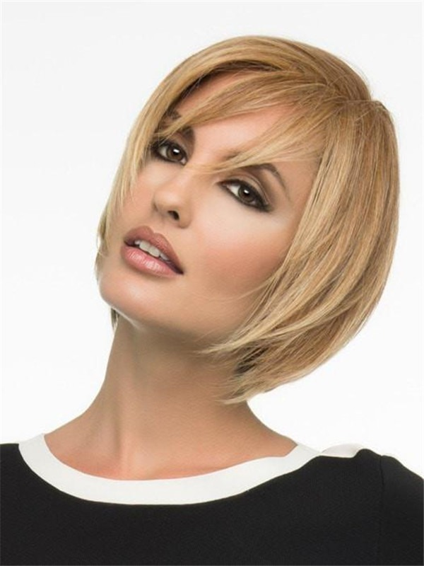 Short Human Hair Synthetic Blend Wig Hand-tied For Women