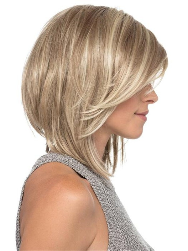 Smid-length Ynthetic Lace Front Wig Basic Cap For Women